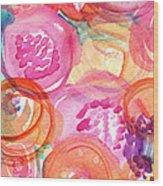 Purple And Orange Flowers Wood Print