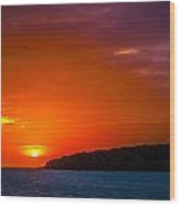 Purple And Orange Sunset Wood Print