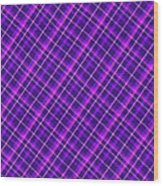 Purple And Pink Diagonal Plaid Fabric Background Wood Print
