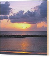 Purple And Pink Sunset Caribbean Dream Wood Print