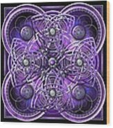 Purple And Silver Celtic Cross Wood Print