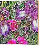 Purple And White Irises And Pink Flowers Wood Print