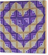 Purple And Yellow Endless Love Log Cabin Quilt Wood Print