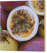 Purple And Yellow Passion Fruit Wood Print