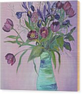 Purple Belle Bouquet  Tulips And Irises Wood Print