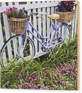 Purple Bicycle And Flowers Wood Print