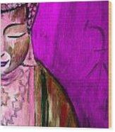 Purple Buddha With Characters Wood Print