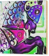 Purple Carousel Horse Wood Print
