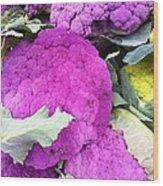 Purple Cauliflower Wood Print