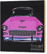 Purple Chevy Pop Art Wood Print