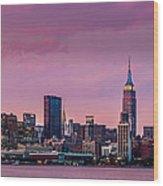 Purple City Wood Print