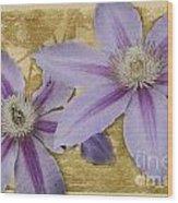 Purple Clematis Wood Print