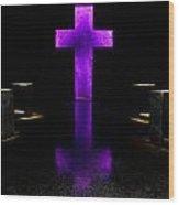 Purple Cross Wood Print