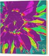 Purple Dahlia Pop Art Wood Print