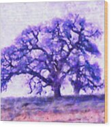 Purple Dreamtime Oak Tree Wood Print