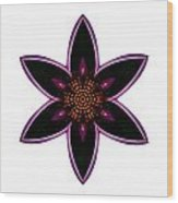 Purple Echinacea I Flower Mandala White Wood Print