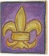 Purple Fleur De Lis Wood Print