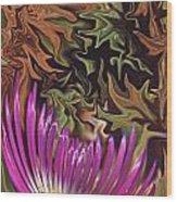 Purple Flower Abstract Wood Print