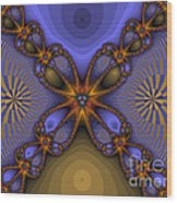 Purple  Flower Fractal Wood Print