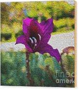 Purple Flower In Oil Wood Print