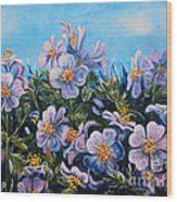 Purple Flowers Wood Print by Drinka Mercep