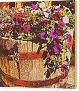 Purple Flowers In Rusty Bucket Wood Print