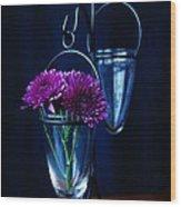 Purple Flowers Still Life Wood Print