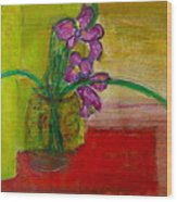 Purple Flowers With Yellow Background Wood Print