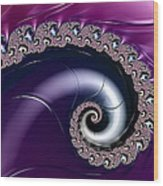 Purple Fractal Spiral For Home Or Office Decor Wood Print