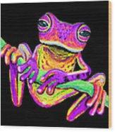 Purple Frog On A Vine Wood Print