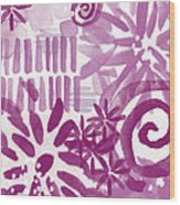 Purple Garden - Contemporary Abstract Watercolor Painting Wood Print