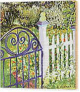 Purple Garden Gate Wood Print