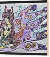 Purple Girl Wood Print