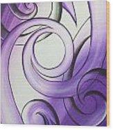 Purple Glass Koru Wood Print