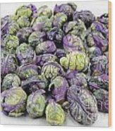 Purple Green Brussels Sprouts Wood Print