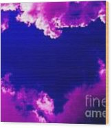 Purple Heart And Pink Clouds Wood Print