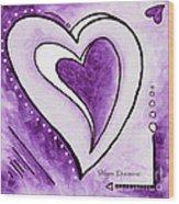 Purple Heart Love Painting Pop Art Blessed By Megan Duncanson Wood Print by Megan Duncanson