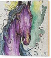 Purple Horse Wood Print by Angel  Tarantella
