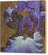 Purple Iris Gold Leaf Wood Print