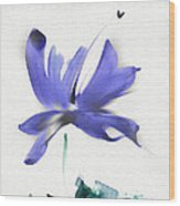 Purple Iris In The Greenery Wood Print