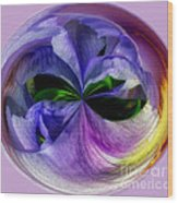Purple Iris Orb Wood Print