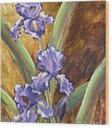 Purple Iris With Gold Leaf By Vic Mastis Wood Print