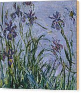 Purple Irises Wood Print