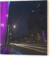 purple lights and Chicago Skyline Wood Print