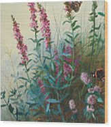 Purple Loosestrife And Watermind Wood Print