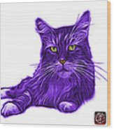 Purple Maine Coon Cat - 3926 - Wb Wood Print