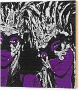 Purple Mask Wood Print