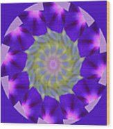 Purple Morning Glory Kaleidoscope Wood Print