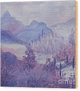 Purple Mountains Fantasy Wood Print