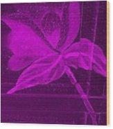 Purple Negative Wood Flower Wood Print